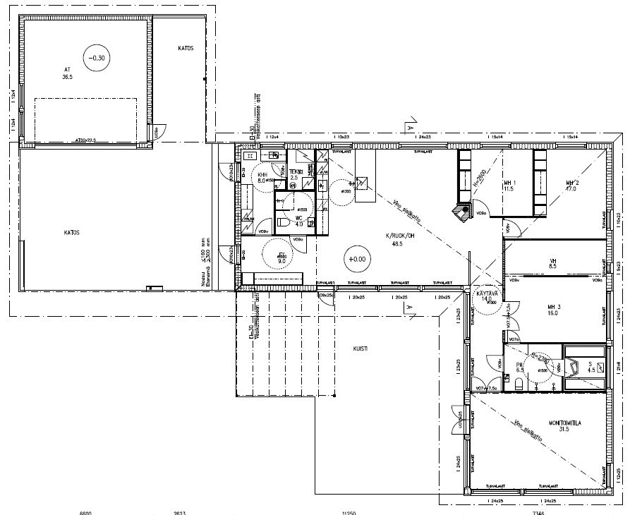 L-mallisen talomme pohjapiirros