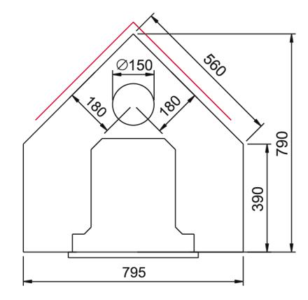 Kulma-Juhanan kompaktit mitat sopivat aiottuun paikkaan. Lämmitysalaksi luvataan 50-70 m2. Useissa saman ulkomitoiltaan saman kokoluokan takoissa luvattiin selkeästi vähemmän lämmitysalaa. (Kuva Linnatulen nettisivuilta).
